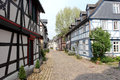 Half timbered houses in germany medieval street with old eltville hesse Stock Photo