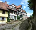 Half-timbered houses in Quedlinburg Stock Photos