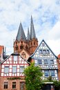 Half-timbered houses and St. Mary's Church of Geln Royalty Free Stock Photos