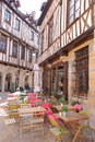 Half-timbered houses and terrace, Dijon, France Royalty Free Stock Photo