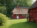 Half timbered thatched roof house denmark traditional vintage country style Royalty Free Stock Image