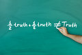 Half truth and half truth does not equal truth on green blackboard Stock Photo