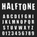 Halftone alphabet font template. Letters and numbers distressed design