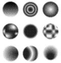 Halftone circles a set of style in nine different designs Stock Photos