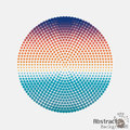 Halftone colorful dot circle, center of the radial pattern Royalty Free Stock Photo