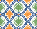 Halftone colorful seamless retro pattern orange green flower cur Royalty Free Stock Photo