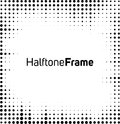 Halftone dots frame black and white square Royalty Free Stock Images