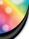 Halftone dots on rainbow backdrop