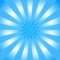 Shining Blue Comic Background with Zoom Effect and Halftone Dots Pattern Royalty Free Stock Photo