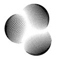 Halftone globe, sphere vector logo symbol, icon, design. abstract dotted globe illustration  on background.