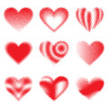Halftone hearts a set of style heart in nine different designs Royalty Free Stock Photo