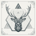 Halftone hipster deer with black Dots. Vector