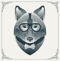 Halftone hipster wolf with black Dots. Vector
