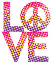 Halftone love peace type design of with symbol in a dot haltone Stock Images