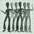 Halftone raster dancing boys Stock Photos