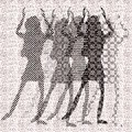 Halftone raster dancing girls Stock Photography