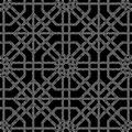 Halftone round black seamless background octagon check cross tracery