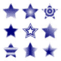 Halftone stars a set of style in nine different designs Stock Photography