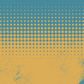 Halftone vintage vector background with worn, grunge edges. Summer season colors with blue as a sea and yellow as sand Royalty Free Stock Photo