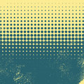 Halftone vintage vector background with worn, grunge edges. Yellow and green color combination. Royalty Free Stock Photo