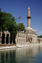 Halil ur rahman mosque and holy lake baliklikoy sanliurfa turkey there is a fish in the center of filled with Royalty Free Stock Photography