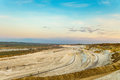 Сhalk and clay quarry in the early morning. Belgorod chalk quarry landscape. Royalty Free Stock Photo