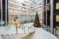 Hall with a christmas tree in main office rosbank moscow dec on december moscow russia Royalty Free Stock Photos