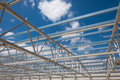 Hall steel structure construction site Royalty Free Stock Photo