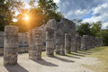 Hall of the Thousand Pillars - Columns at Chichen Itza, Mexico Royalty Free Stock Photo
