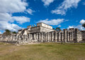Hall of the thousand pillars columns at chichen itza mexico cityscape in a sunny day Royalty Free Stock Image