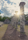 Hall of the Thousand Pillars - Columns at Chichen Itza, Mexico, Royalty Free Stock Photo