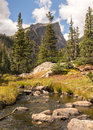 Hallett Peak, Tyndall Creek, Rocky Mountain National Park, CO Royalty Free Stock Photo