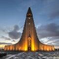 Hallgrimskirkja cathedral in reykjavik iceland at dawn the lutheran church of parish church at metres Royalty Free Stock Photo