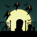 Halloween abstract grave and ghost on special background Stock Photo