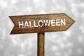 Halloween Ahead Road Sign Royalty Free Stock Photo
