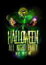 Halloween all night party poster with green evil beast and red eyes Royalty Free Stock Photo