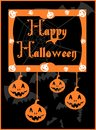Halloween artwork dedicated to with stylized bats pumpkins and cobweb Royalty Free Stock Photos
