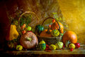 Halloween autumn fall pumpkin setting table still life vintage autumnal with pumpkins rowan and quinces Royalty Free Stock Photo