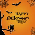 Halloween background with black cat, bats, cobweb and inscription Happy Halloween. Vector