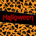 Halloween background black symbols on an orange Royalty Free Stock Image