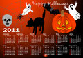 Halloween background calendar vector. Royalty Free Stock Image