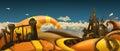 Halloween background. Cartoon landscape panorama. 3d vector