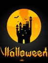 Halloween background with castle and bats Stock Image