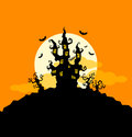 Halloween background with castle and trees Stock Photo