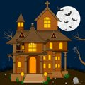 Halloween background easy to edit vector illustration of haunted house in Royalty Free Stock Photos