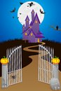 Halloween background easy to edit vector illustration of haunted house in Royalty Free Stock Images