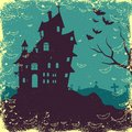 Halloween background easy to edit vector illustration of haunted house in Royalty Free Stock Photography