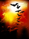 Halloween background - flying bats in full moon Royalty Free Stock Image