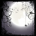 Halloween background full moon and a cobweb d vector Royalty Free Stock Photography