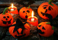 Halloween background handmade pumpkin amazing in red color group of on night light from candle make scary horror symbol Stock Images